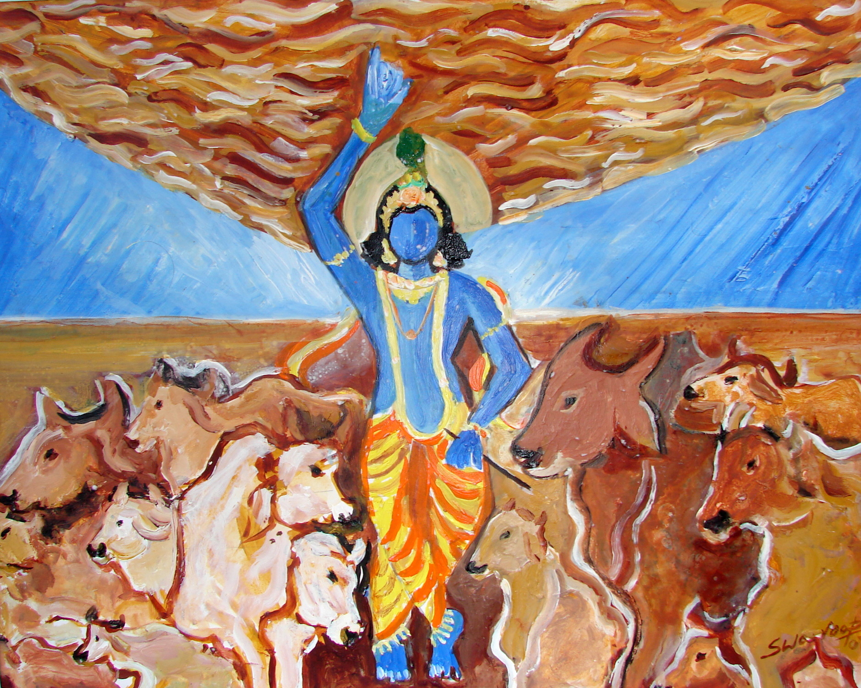 KRISHNA LIFTING GOVARDHAN HILL