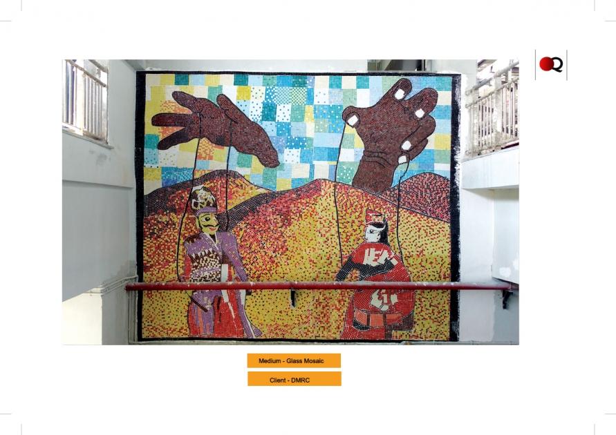 Hand cut glass mosaic tiles mural