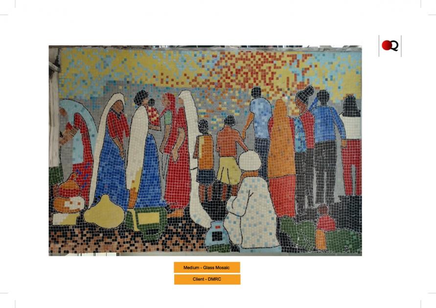 Glass mosaic tiles mural