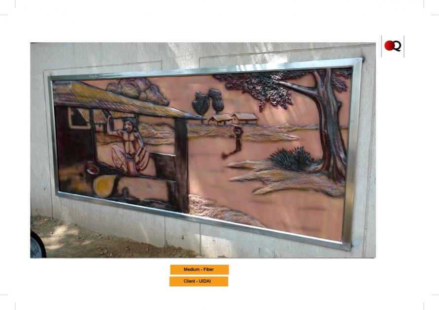 Fiber glass relif mural