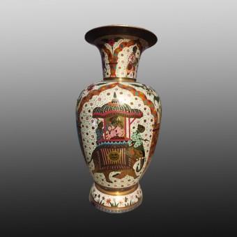 Meenakari brass metal flower vase